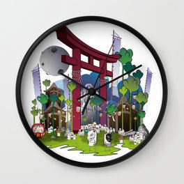 Torii night scene Wall Clock