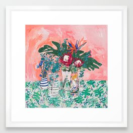 Cockatoo Vase - Bouquet of Flowers on Coral and Jungle Framed Art Print