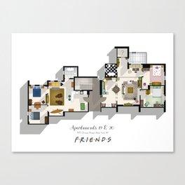 Friends Apartment Floor Plans Canvas Print