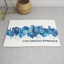 Colorado Springs Colorado Skyline Blue Rug