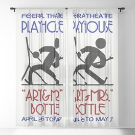 Art and Mrs Bottle retro theatre Sheer Curtain