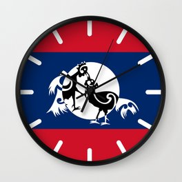 Laos, Roosters Sparring Wall Clock