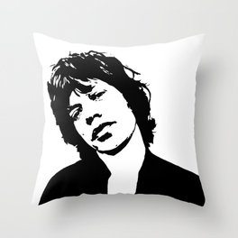"Sir Michael Philip ""Mick"" JaggerBlack White Face, Music, Art Throw Pillow"