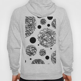 Scribbles - Black and white scribbles and black circles pattern on white Hoody
