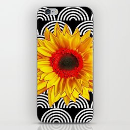 Red Sunflower Floral  Art Deco Pattern Art iPhone Skin