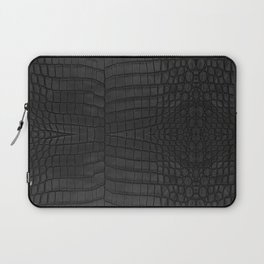 Black Crocodile Leather Print Laptop Sleeve