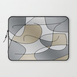 ABSTRACT CURVES #1 (Grays & Beiges) Laptop Sleeve