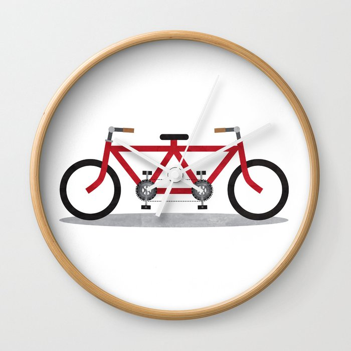 Broken Teamwork Tandem Bicycle Wall Clock by sixsixninenine | Society6