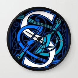 Celtic Peacocks Letter S Wall Clock