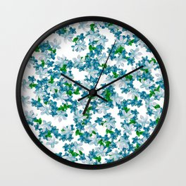 Summer Blues, Floral Pattern Wall Clock