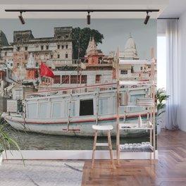 Boat in Ganga river, Varanasi, India Wall Mural