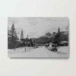 Nostalgia - Little bw town Rocky Mountain view Canada Metal Print