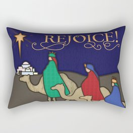 Rejoice! Three Wise Men Christmas Stained Glass Rectangular Pillow