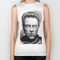 christopher walken Biker Tanks featuring Christopher Walken Portrait by joeandersonart