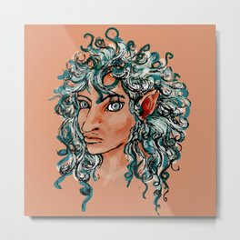 Female elf profile 1d ver. 2 Metal Print