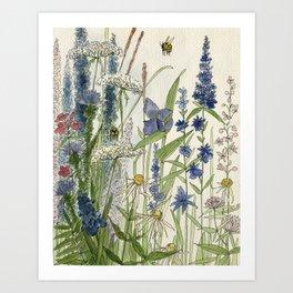 Wildflowers 2 watercolor Art Print