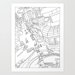 Downtown (Orange and Blue Towers) Art Print