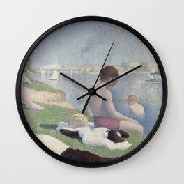 Bathers at Asnières Wall Clock