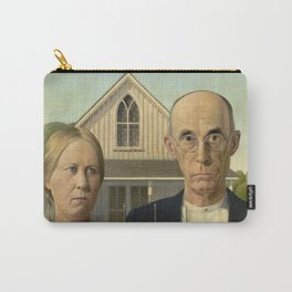 American Gothic Oil Painting by Grant Wood Carry-All Pouch