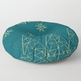 Merry Christmas Teal Gold Floor Pillow
