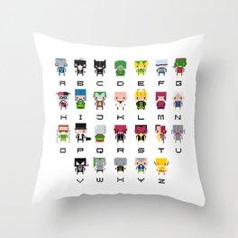 Pixel Supervillain Alphabet 2 Throw Pillow