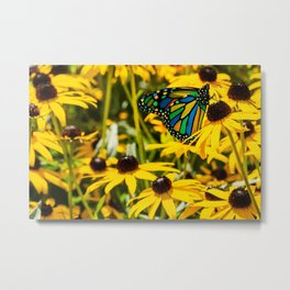 Surreal Monarch on Flowers Metal Print