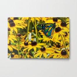 Surreal Monarch on Flowers Metal Print