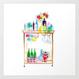 Watercolour Bar Cart Art Print