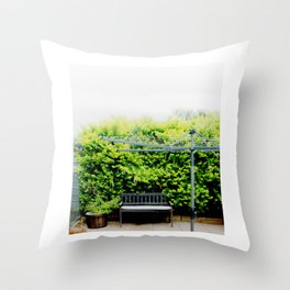 Bench in Overcast Throw Pillow
