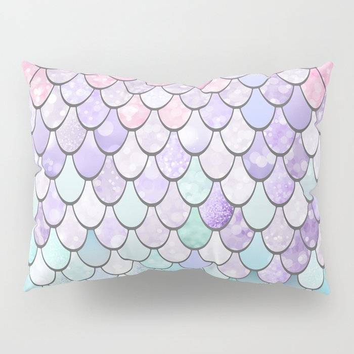 Mermaid Pastel Pink Purple Aqua Teal Pillow Sham