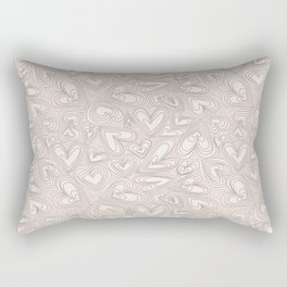 Abstract ivory brown hand painted valentine's hearts pattern Rectangular Pillow