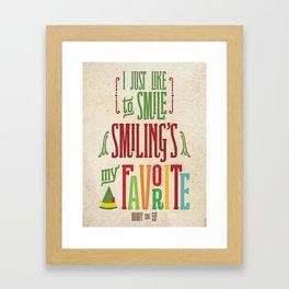 Buddy the Elf! Smiling's My Favorite! Framed Art Print