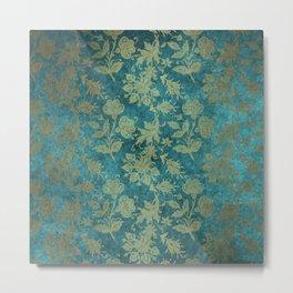 Blue Velvet Gold Floral Pattern 04 Metal Print