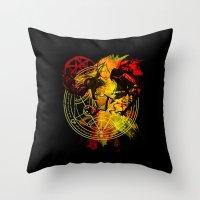 fullmetal Throw Pillows featuring Alchemy by Coffeewatson
