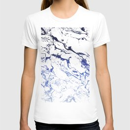 Modern white marble blue ombre navy blue watercolor gradient fade T-shirt