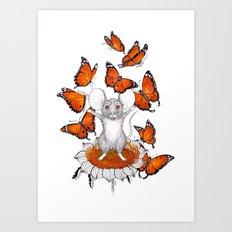 Mouse Butterflies Art Print