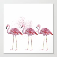 Three Flamingos #society6 Canvas Print