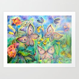 Butteflies and roseflower in the nature Art Print
