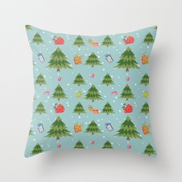 Christmas Elements Christmas Trees Design Throw Pillow