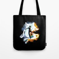 the legend of korra Tote Bags featuring THE LEGEND OF KORRA by Beka