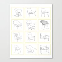 mid century Canvas Prints featuring Mid Century Chairs by MidPark Prints