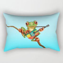 Tree Frog Playing Acoustic Guitar with Flag of Ethiopia Rectangular Pillow