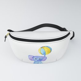 cute blue elephant with ball Fanny Pack