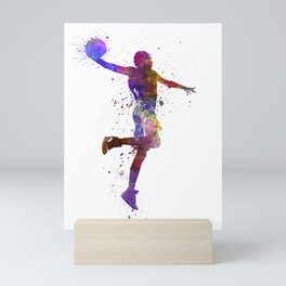 basketball player one hand slam dunk silhouette Mini Art Print