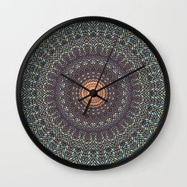 Sun Circle Bohemian Geometric Thread Weave Pattern Original \\ Yellow Gray Blue Purple Color Scheme Wall Clock