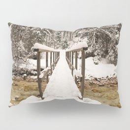 Pericnik Falls Snowy Bridge Pillow Sham