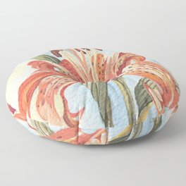 Orange Tiger Lily Watercolor Painting Floor Pillow