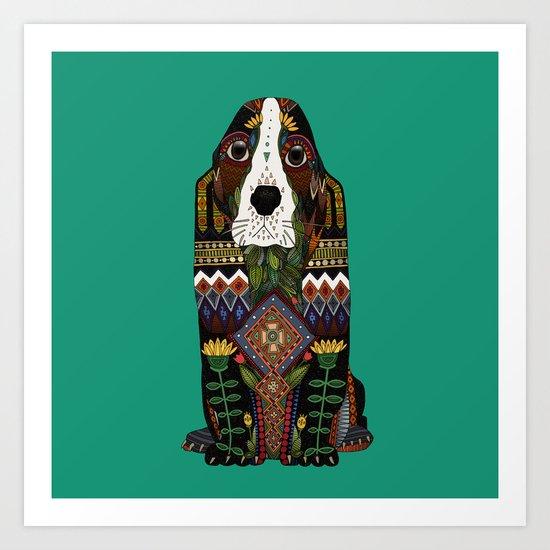Basset Hound jade Art Print