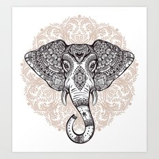 Elephant on Mandala Art Print