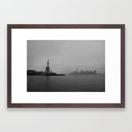 Storm Rolling In Over Lady Liberty Framed Art Print